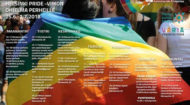 Perheille paljon ohjelmaa Helsinki Prideilla!