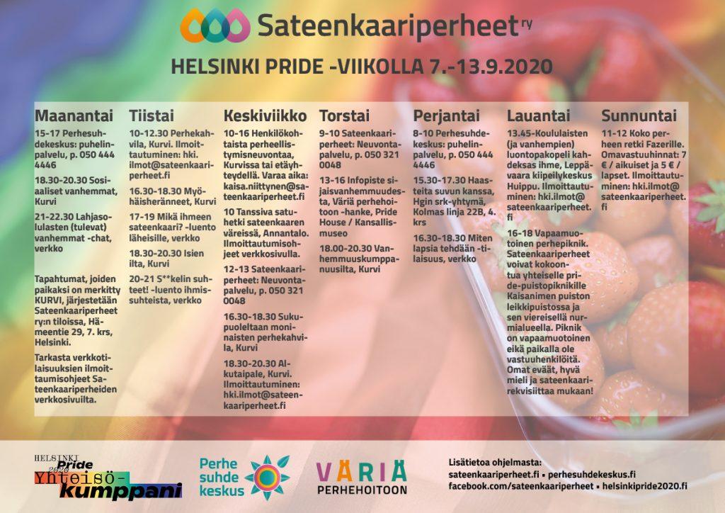 Sateenkaariperheiden järjestämä ohjelma Helsinki Pride 2020 -viikolla. Ohjelma löytyy kokonaisuudessaan kuvan alta.